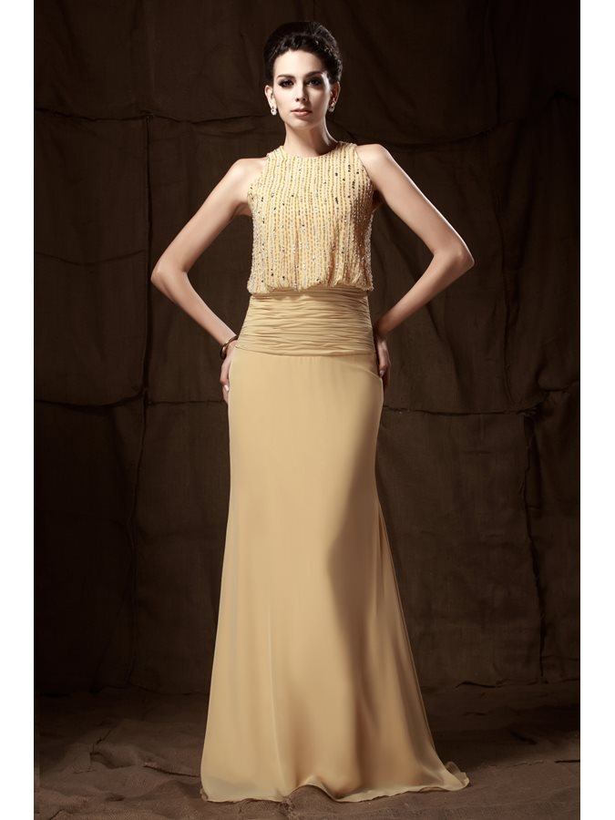 Luxurious Jewel Neckline Floor-length Beaded Mother of the Bride Dress
