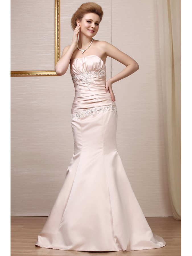 Sexy Color Mermaid Strapless Embroidered Wedding Dress Tidebuy