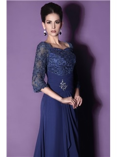 Lace A-Line Sweetheart Neckline 3/4-Sleeves Floor-length Mother of the Bride Dress With Jacket/Shawl