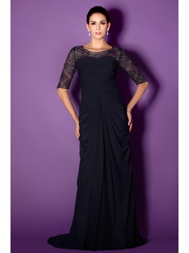 Fabulous Bateau Sheath Column Short Sleeve Floor Length Lace Talines Mother Of The Bride Dress