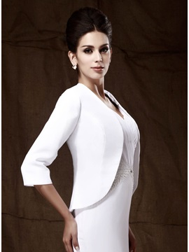 Attractive 3 4 Length Sleeve White Wedding Party Jackets