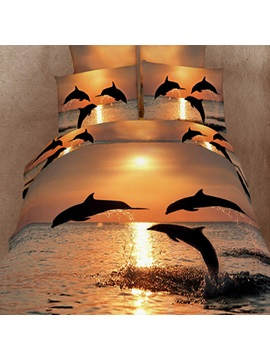 Jumping Dolphin In The Setting Sun 4 Piece Cotton Bedding Sets