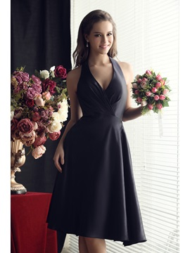 Ruched A Line Bowknot Halter Knee Length Sandras Bridesmaid Dress