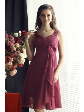 Faddish Flower Pleats Straps A Line Knee Length Sandras Bridesmaid Dress