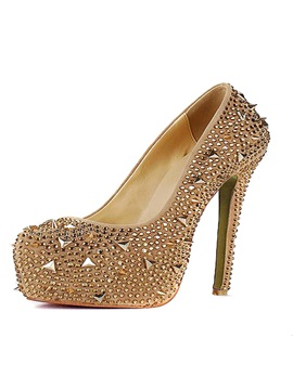 Shining Platform Stiletto Heels Closed Toe Prom Evening Spike Shoes