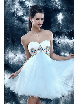 Lovely Empire Sweetheart Strapless Beading Sandras Mini Sweet 16 Dress