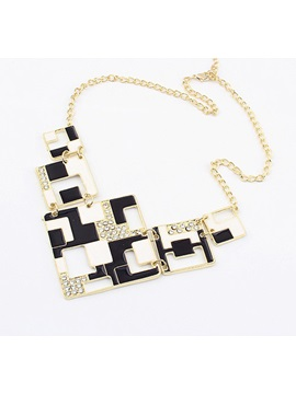 Chic Black And White Blocks Alloy With Rhinestone Ladys Fashion Necklaces