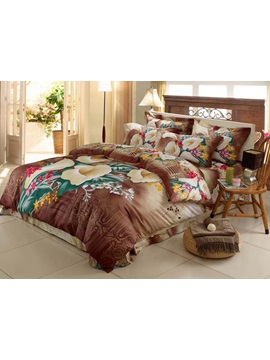 Beauty Brown 4 Piece Cotton Bedding Sets With Florals Printing