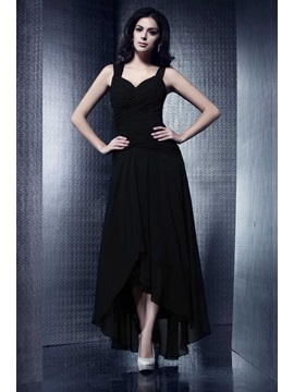 Cool A Line Ruffles Asymmetry Straps Talines Party Dress