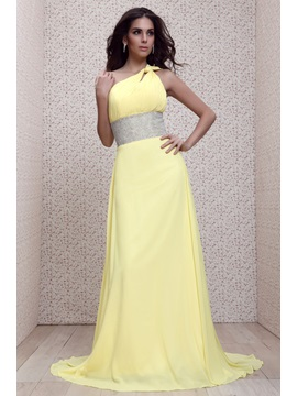Charming Empire A Line One Shoulder Court Train Floor Length Talines Evening Dress