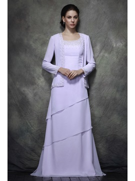 Teried A Line Scoop Beads Floor Length Polinas Mother Of The Bride Dress With Jacket Shawl
