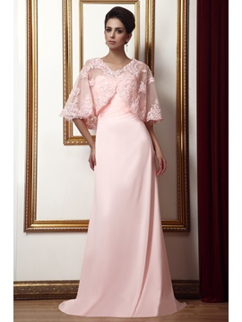 Delicate A Line Sweetheart Pleats Long Talines Mother Of The Bride Dress With Jacket Shawl