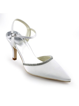 Bright White Satin Stiletto Heels Sling Back Wedding Bridal Shoes