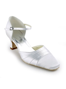 White Satin Chunky Heels Closed Toe Wedding Shoes