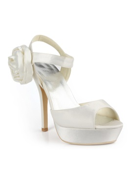 Honey White Satin Stiletto Heels Sling Back Prom Evening Shoes