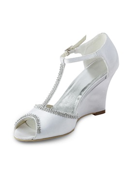 Fashion White Satin Wedge Heels Peep Toe Wedding Shoes