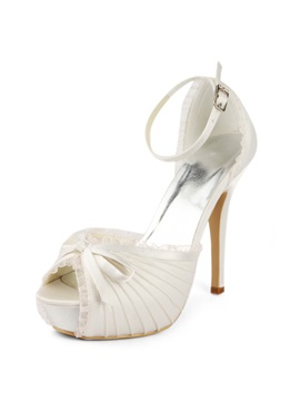 Enchanting Satin Stiletto Heels Peep Toe Wedding Shoes