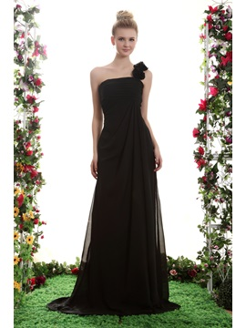 A Line One Shoulder Floor Length Yanas Bridesmaid Dress