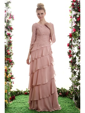 Beading Tiered A Line Scoop Neckline Half Sleeves Floor Length Yanas Bridesmaid Dress