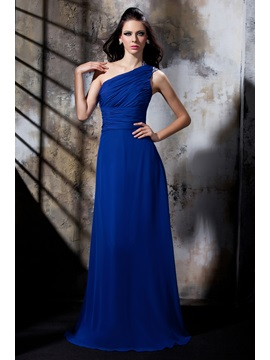 Elegant One Shoulder Pleats Sequins Floor Length Polinas Evening Dress
