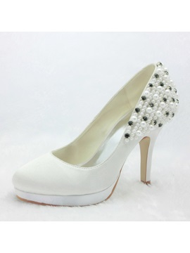 Beading Satin Platform Wedding Shoes