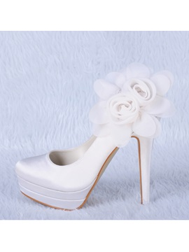 Fashion Satin Applique Stiletto Heels Wedding Shoes