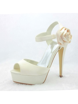 Honey Satin Stiletto Heel Peep Toe Wedding Shoes