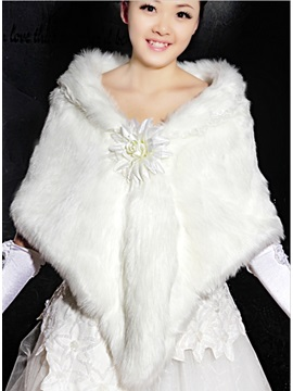 Amazing Long Faux Fur Wedding Jacket Wrap Shawl With Flower More Colors