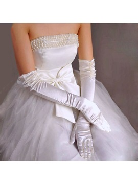 Amazing Long Wrinkled Satin Wedding Gloves With Pearls More Colors