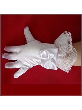 Short White Satin Flowergirls Children Wedding Gloves With Laciness