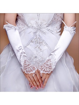 Remarkable Fingerless Bridal Wedding Gloves With Lace Applique And Cute Flower