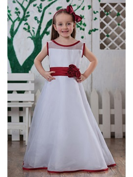 Beautiful A Line Tea Length Bateau Flower Girl Dress