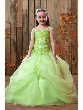 Beautiful A Line Spaghetti Straps Floor Length Appliques Embellishing Flower Girl Dress
