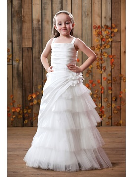 A Line White Straps Taffeta Flower Girl Dress