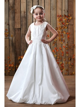 A Line Flower Length Sweeping Train Flower Girl Dress