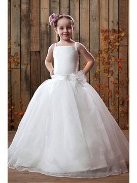 Cute Empire Square Ankle Length Flower Girl Dress