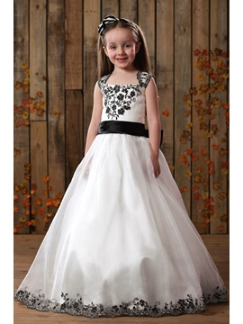 Cute A Line Square Floor Length Applique Satin Flower Girls Dress