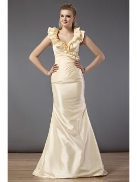 Charming Cascading Ruffles Trumpet Floor Length Bridesmaid Dress