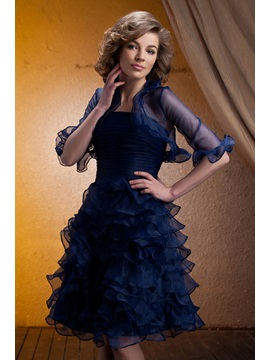 Delicated Tiered Ruched A Line Strapless Knee Length Mother Of The Bride Dress With Jacket Shawl