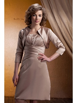 Ruched A Line Spaghetti Straps Knee Length Mother Of The Bride Dress With Jacket Shawl