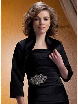 Graceful Ladys 3 4 Sleeve Unpatterned Evening Wedding Jacket
