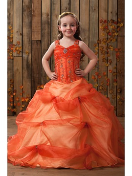 Ball Gown Beading Pick Ups Flower Girl Dress