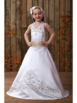 Beautiful A Line V Neck Floor Length Sleeveless Flower Girl Dress