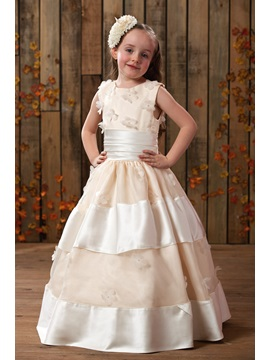 Ball Gown Scoop Neck Appliques Flower Girl Dress
