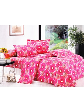 Candied Ress Heat Shaped Pattern 4 Piece Cotton Bedding Sets