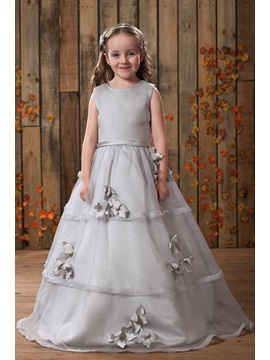 A Line Floor Length Bateau Appliques Flower Girl Dress