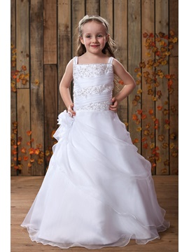 Square Neck Appliques Beaded Pick Ups Flower Girl Dress