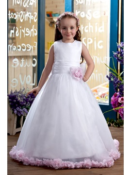 Beautiful A Line Scoop Floor Length Flower Girl Dress