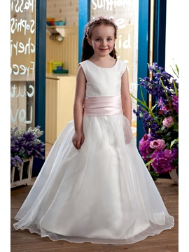 Lovely Ball Gown Floor Length Bateau Bowknot Flower Girl Dress
