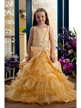 Ball Gown Square Neck Appliques Tiered Organza Flower Girl Dress